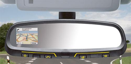 Rear mirror gps system